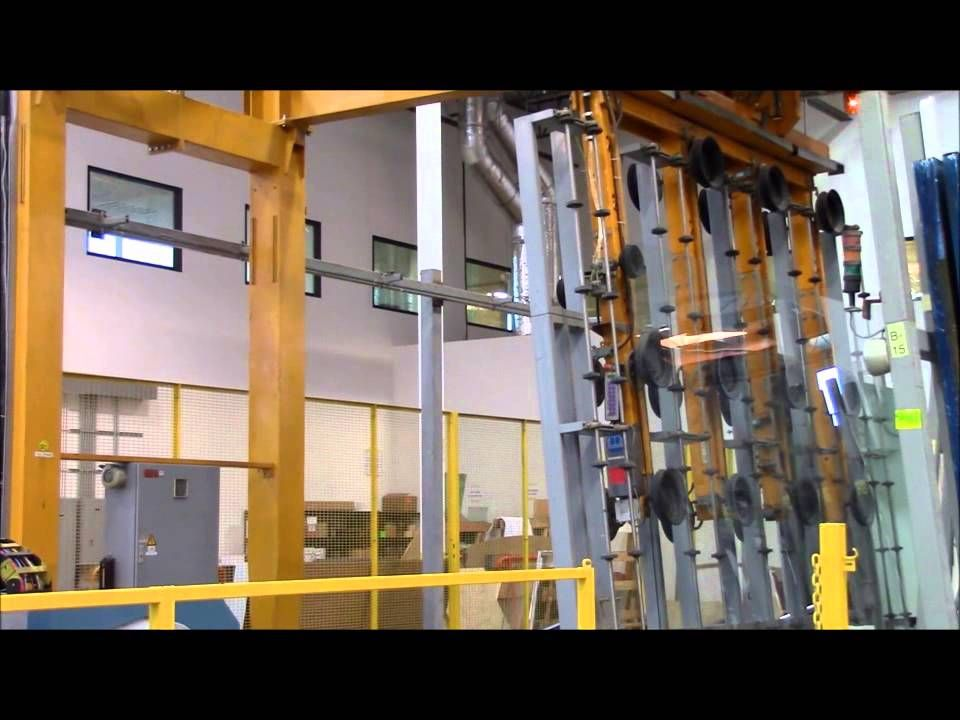 Automated glass cutting. Mobile Overhead Crane with rotating suction ...
