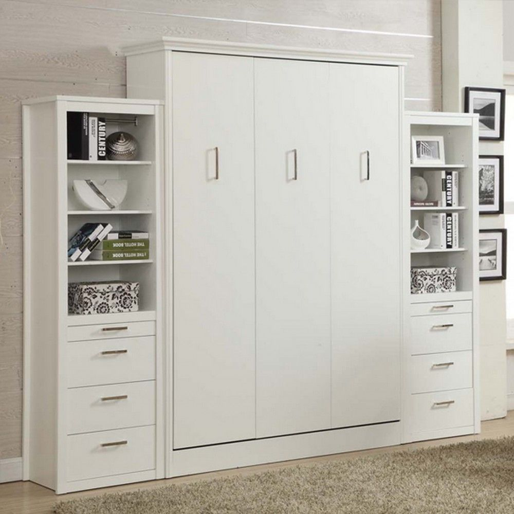 Stella Queen Murphy Bed With 2 Storage Cabinets White