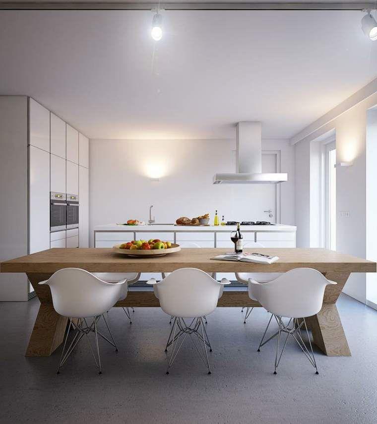 cocina-con-mesa-madera-grande | Cosas que comprar | Pinterest ...