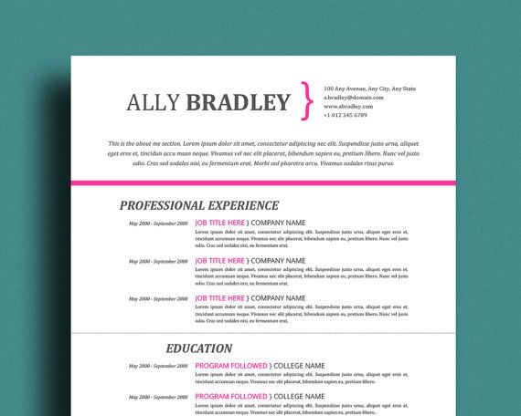 Resume Template Professional CV Template Mac \ PC Word + - mac pages resume templates