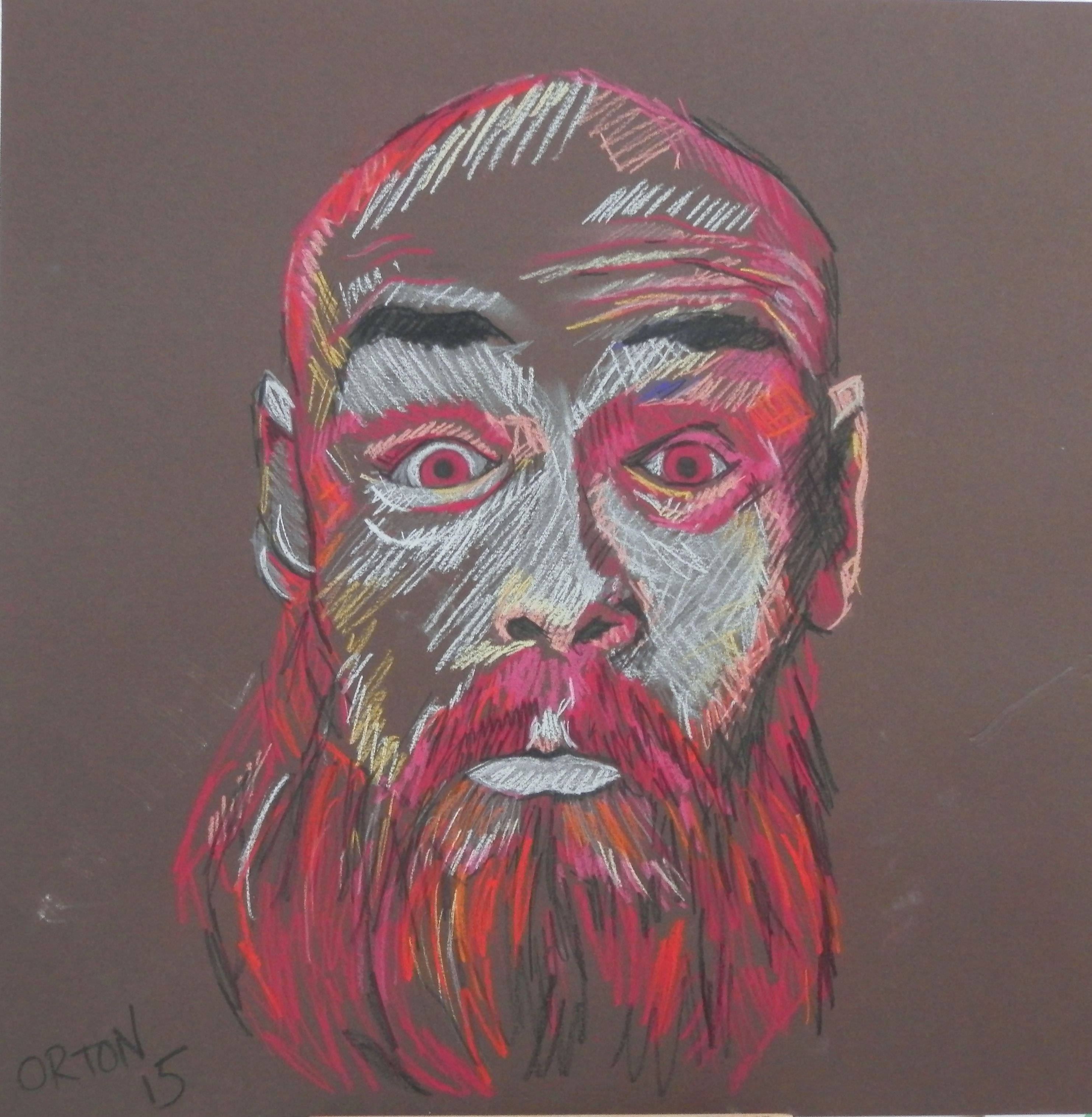 Young Man With Beard by Andrew Orton, soft pastel on card 2015