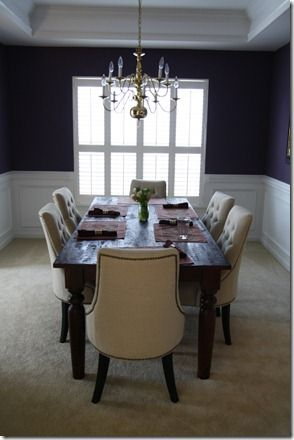 Martha Stewart Eggplant walls in dining room. love it ...