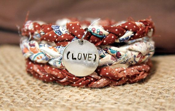 Marroon Dot & Multi Fabric Bracelet with Hand Stamped Tag on Etsy, $10.00
