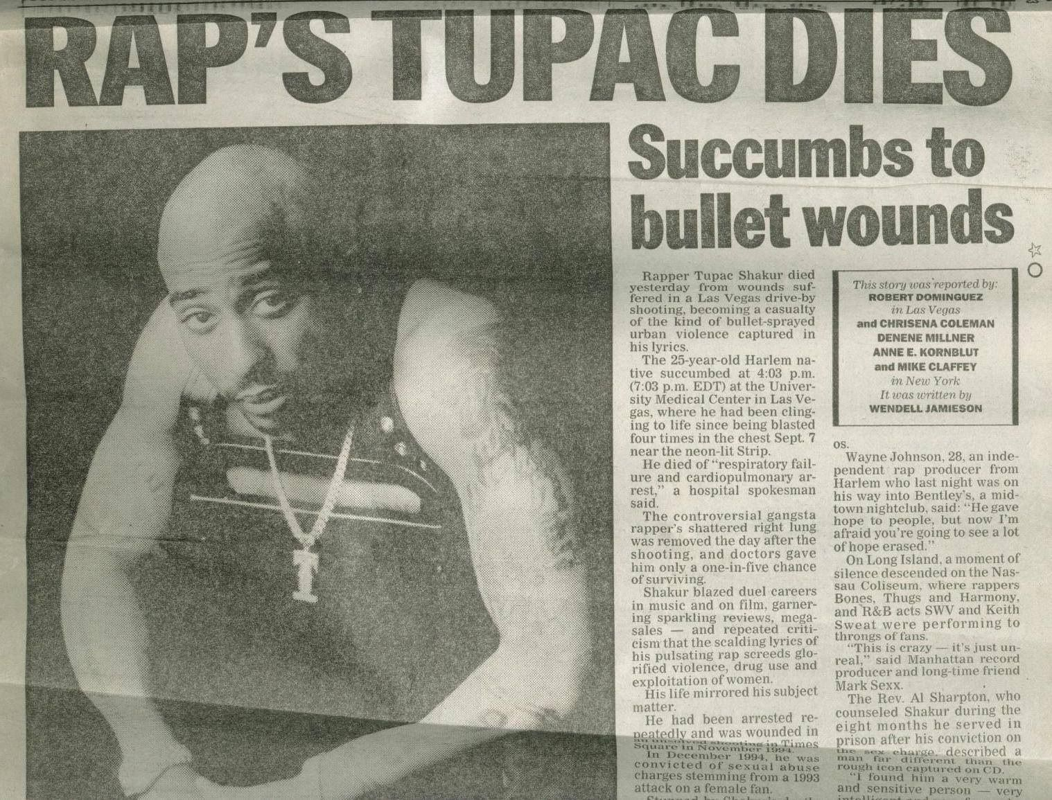 TUPAC SHAKUR DEAD | Tupac, Tupac shakur, Tupac makaveli