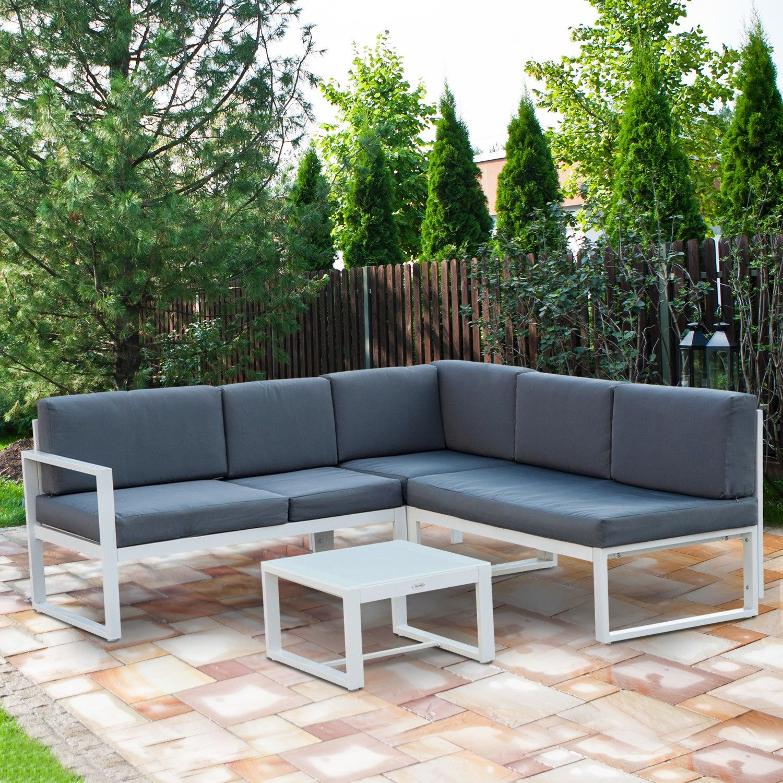 Outsunny Aluminum Frame 4pc Patio Sectional Set Garden Sofa Tea Table With Cushion White
