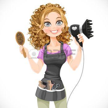 styliste Salon de coiffure fille mignonne avec sèche