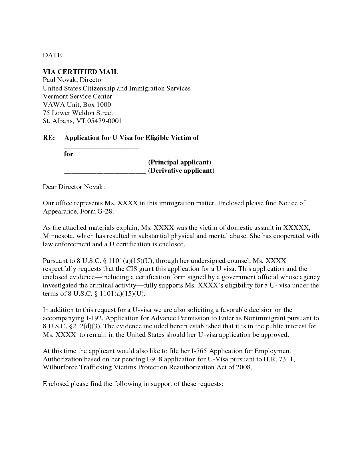 Victim Specialist Cover Letter Letter Example Of Waiver Letter For Immigration Sample