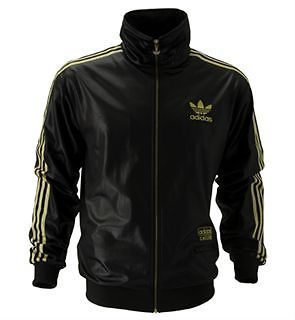 ADIDAS ORIGINALS CHILE 62 TRACKSUIT TOP TRACK JACKET BNWT BLACK / GOLD RETRO