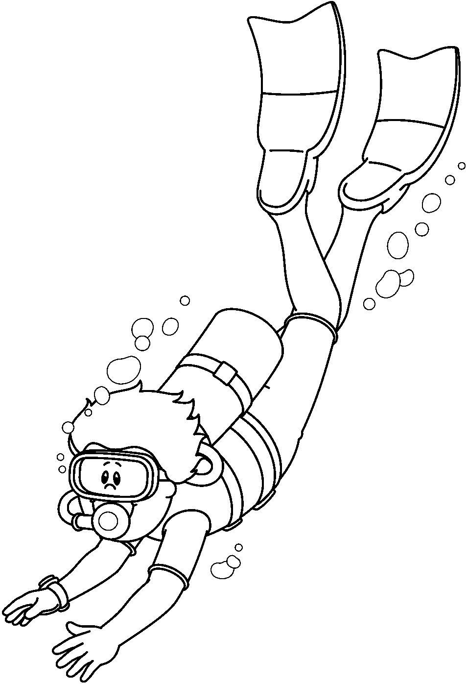 dibujos de buceo y submarinismo para colorear y pintar