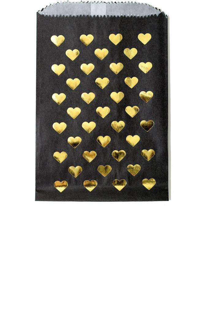 Gold Foil Heart Print Favor Bags in Black – Splendid Supply Co., LLC.