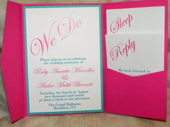 Turquoise And Pink Wedding Invitations: Hot Pink And Aqua Blue Wedding Invitations #hotpink