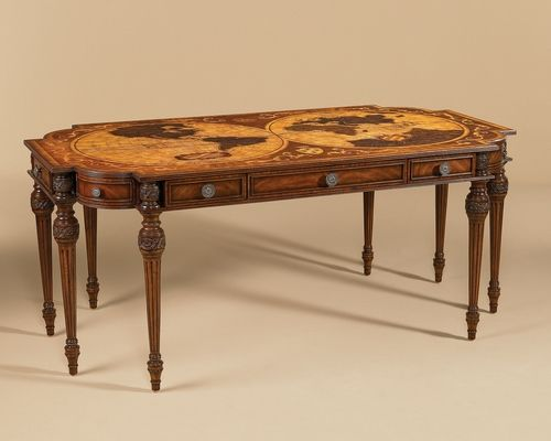 Aged regency finished desk intricate inlaid marquetry top style