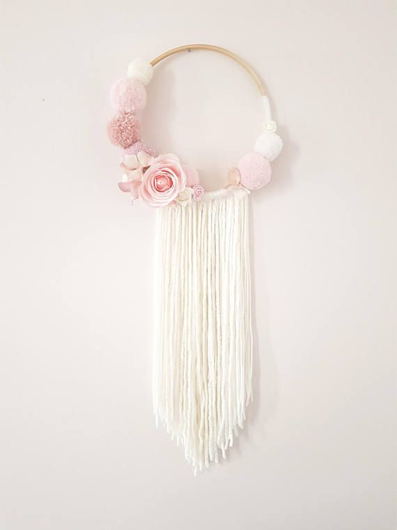 Pompom Fl Wall Hanging Dream Catcher Nursery Decor