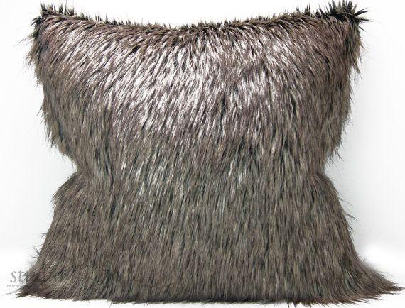 Faux Fur Pillow Cover 24 Inch Brown Euro Sham