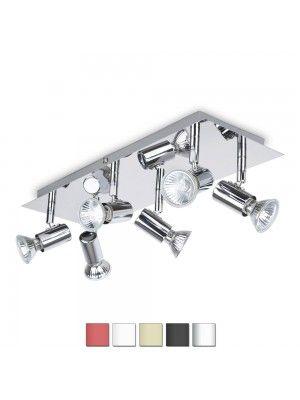 consul chrome 6 way rectangular plate spotlight buy discounted designer lighting from iconic lights - Spotlight Kitchen Lights