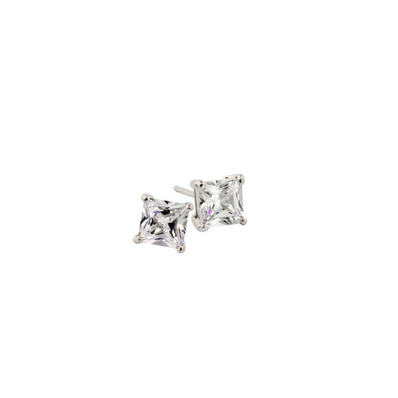 1ct Princess Cut Stud Earrings