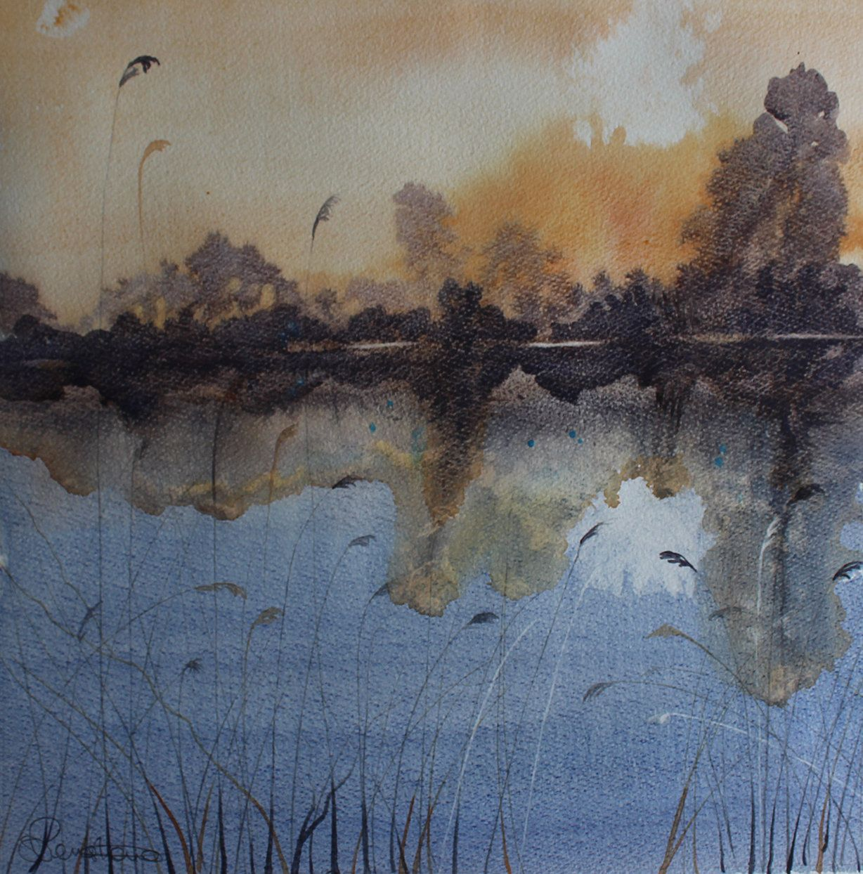 sunset watercolour, lake painting, Cornwall art, setting sun