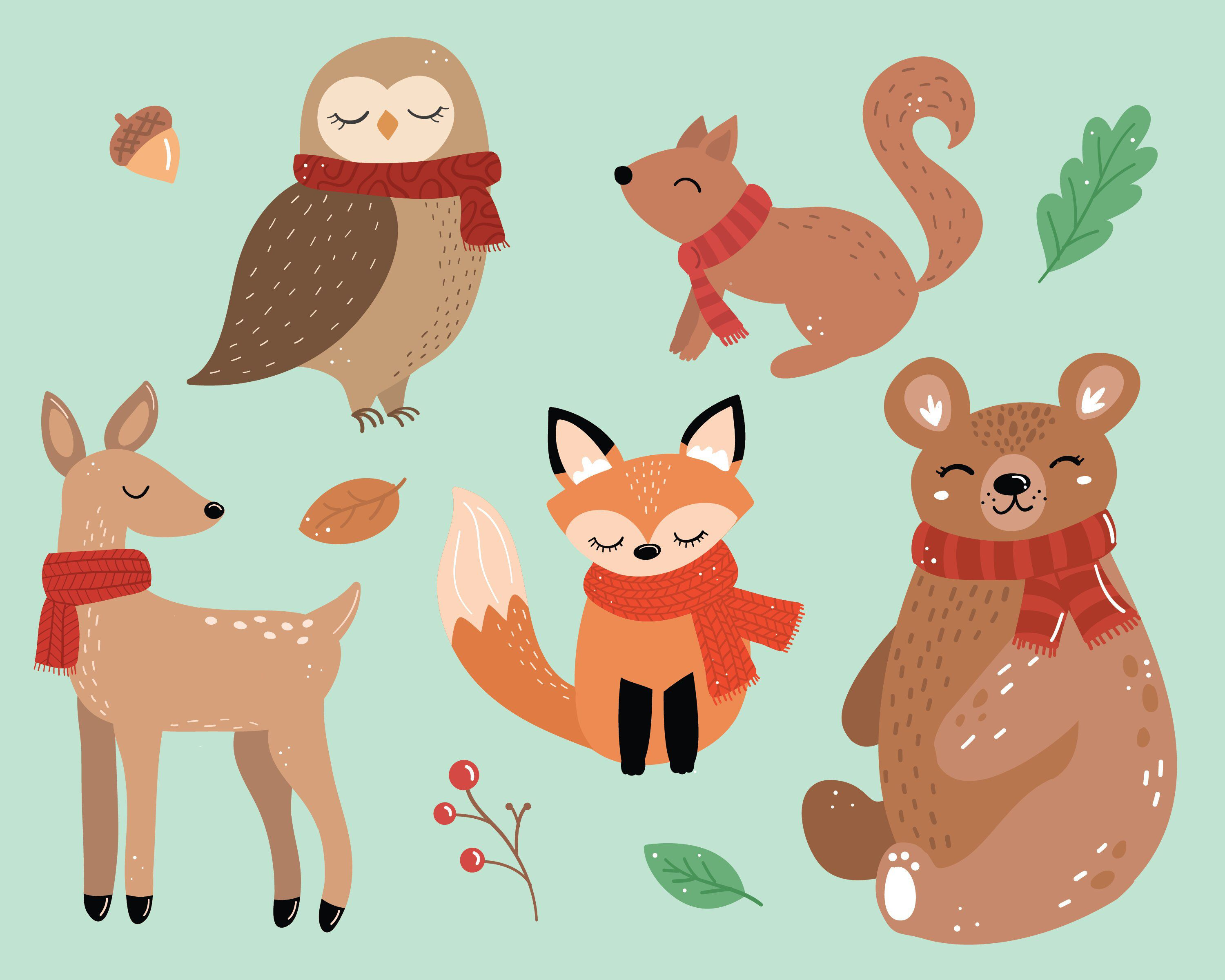 Animals wearing scarves clipart Winter illustrations