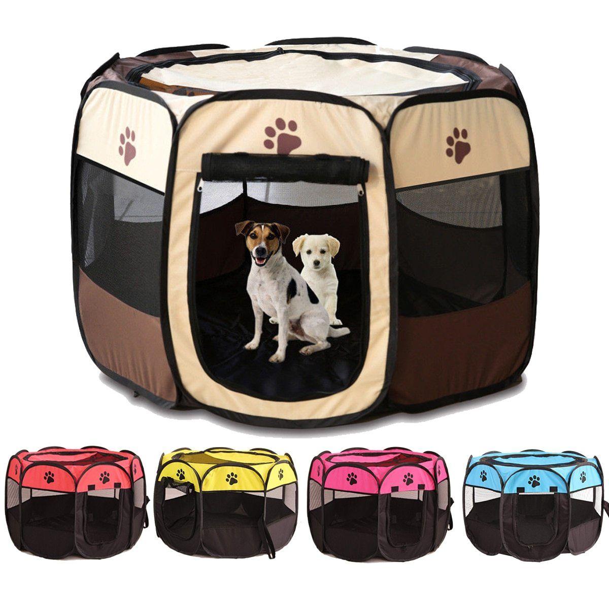 Portable Pet Crate Playpen Foldable Mesh Water Resistant Indoor Outdoor Dog Playpen Puppy Kennel Cat Cages