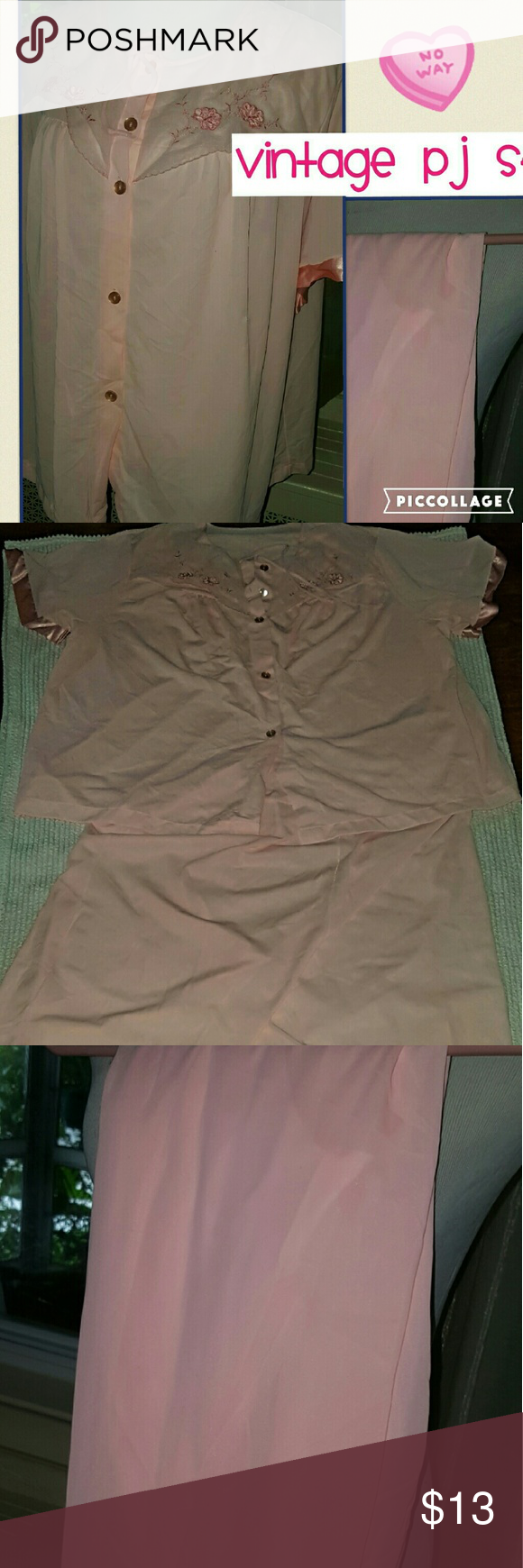VTG Pajama set XL..1X This is an adorable set that was an estate fi d.. No tags but definitely vintage and nylon. Elastic on pants is excellent and they measure 16 inches without stretching. I tried stretching and it goes to over 22 inches on waistband. Top measures 18 inches shoulder to shoulder and 23 inches under the arms. There is place where front has been mended and that accounts for this price Vintage Intimates & Sleepwear Pajamas