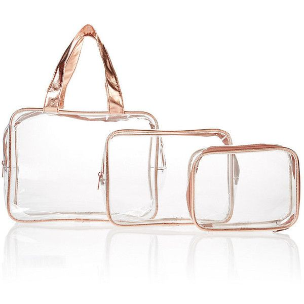 7a862cd5e6de 3 Piece Rose Gold Clear Cosmetic Bag Set M&S (€7,40) ❤ liked on ...