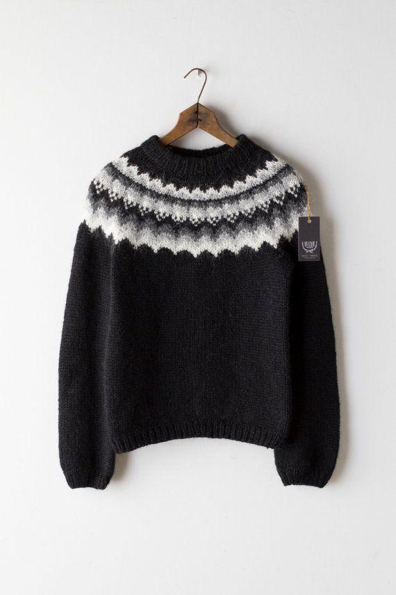 61f72137832 Black Icelandic Sweater - Hand Knit Wool Lopi Jumper Pullover ...