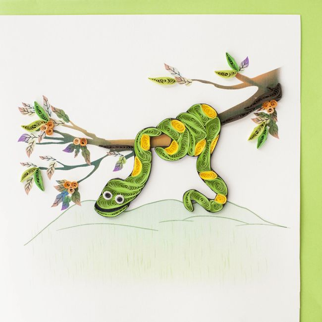 Quilled snake greeting card