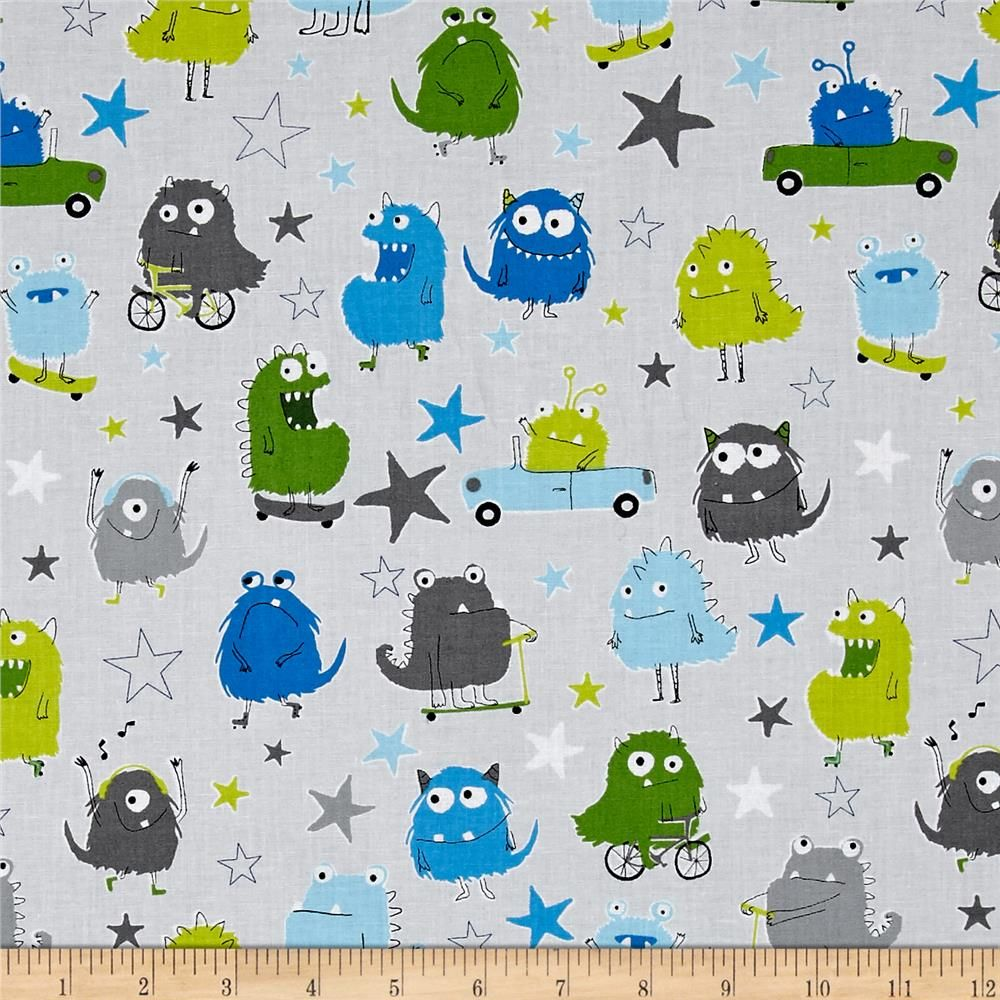 Kaufman Monsters Collage Park from @fabricdotcom  Designed by Sea Urchin Studio for Robert Kaufman Fabrics, this whimsical collection is perfect for a monster-loving little boy's nursery, with primary color palettes, silly monsters, and hand-drawn stars. Perfect for quilting, apparel, and home decor accents. Colors include shades of grey, shades of green, shades of blue, white, and black.