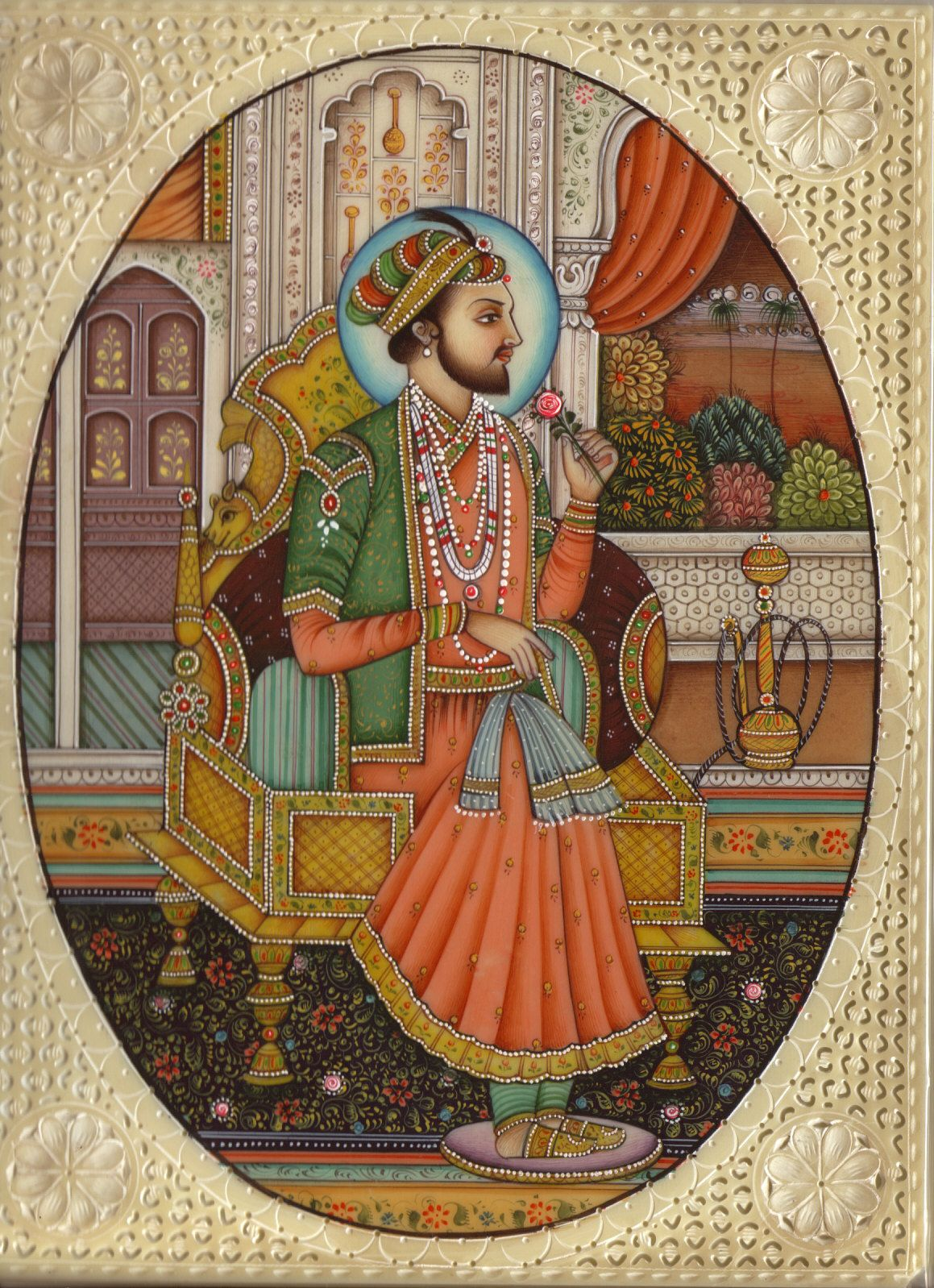Mughal Miniature Painting Emperor Shah Jahan Rare Mogul