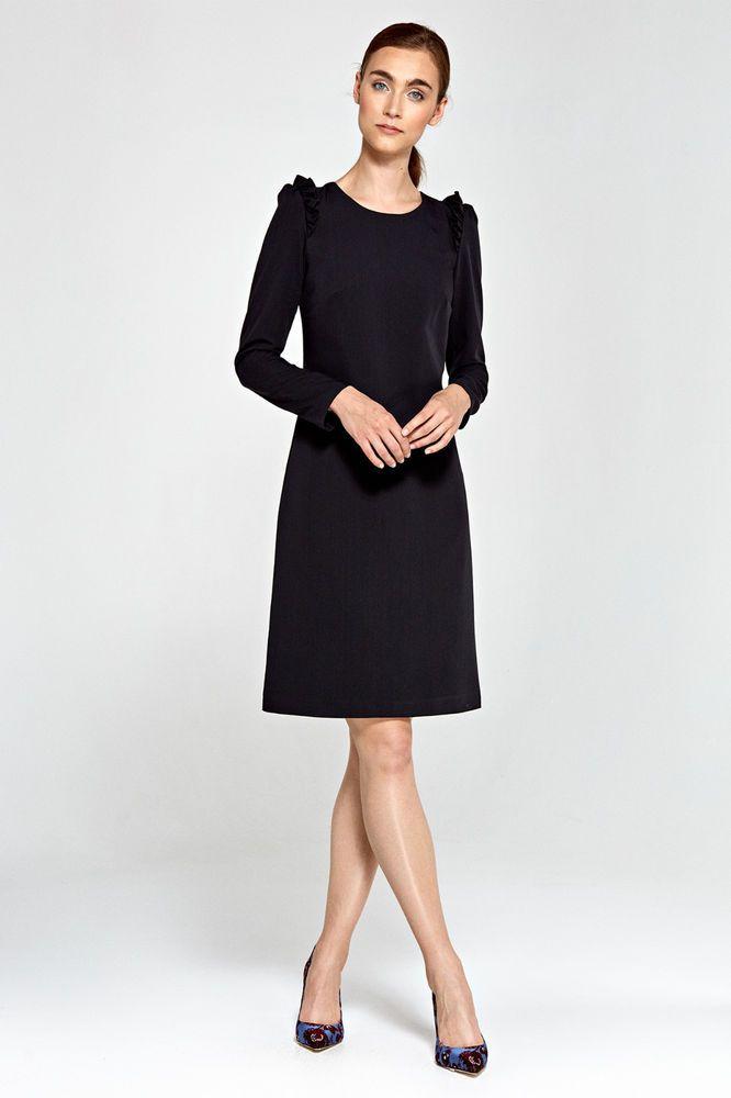 Froufrou Noire Épaule Volant Femme Évasée Robe Habillée Sur Détails lK1cFJ