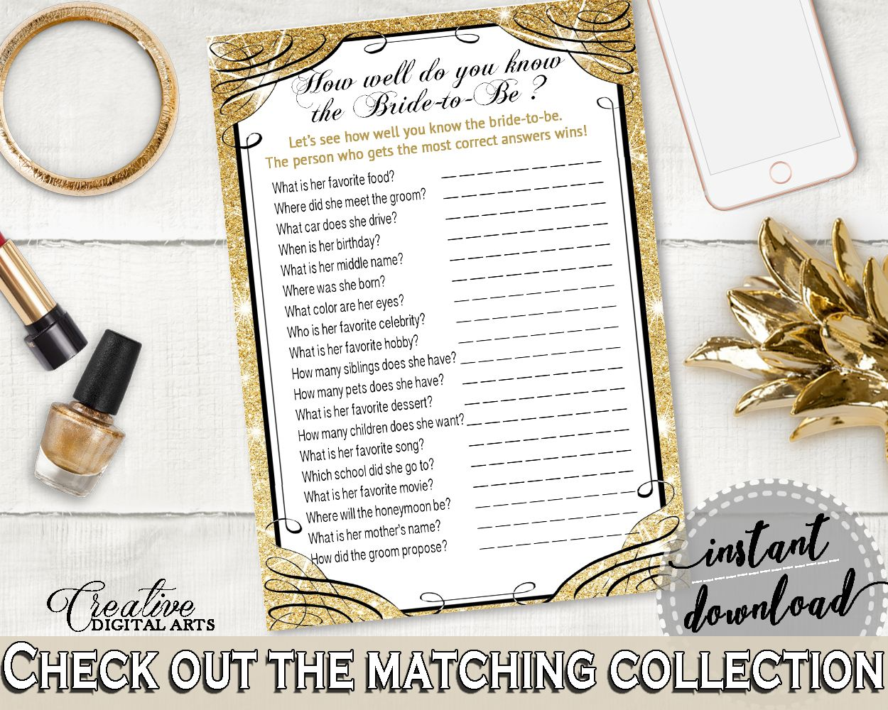 Glittering Gold Bridal Shower How Well Do You Know The Bride To Be in Gold And Yellow, conversance bride, party plan, party stuff - JTD7P #bridalshower #bride-to-be #bridetobe