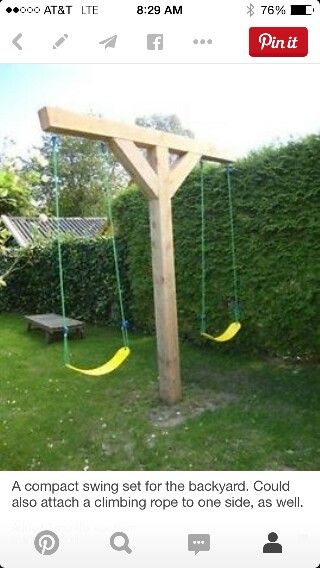 A Compact Swing Set For The Backyard. Could Also Attach A Climbing Rope To  One Side, As Well. Getting Rid Of Swing Set Making It More Compact.