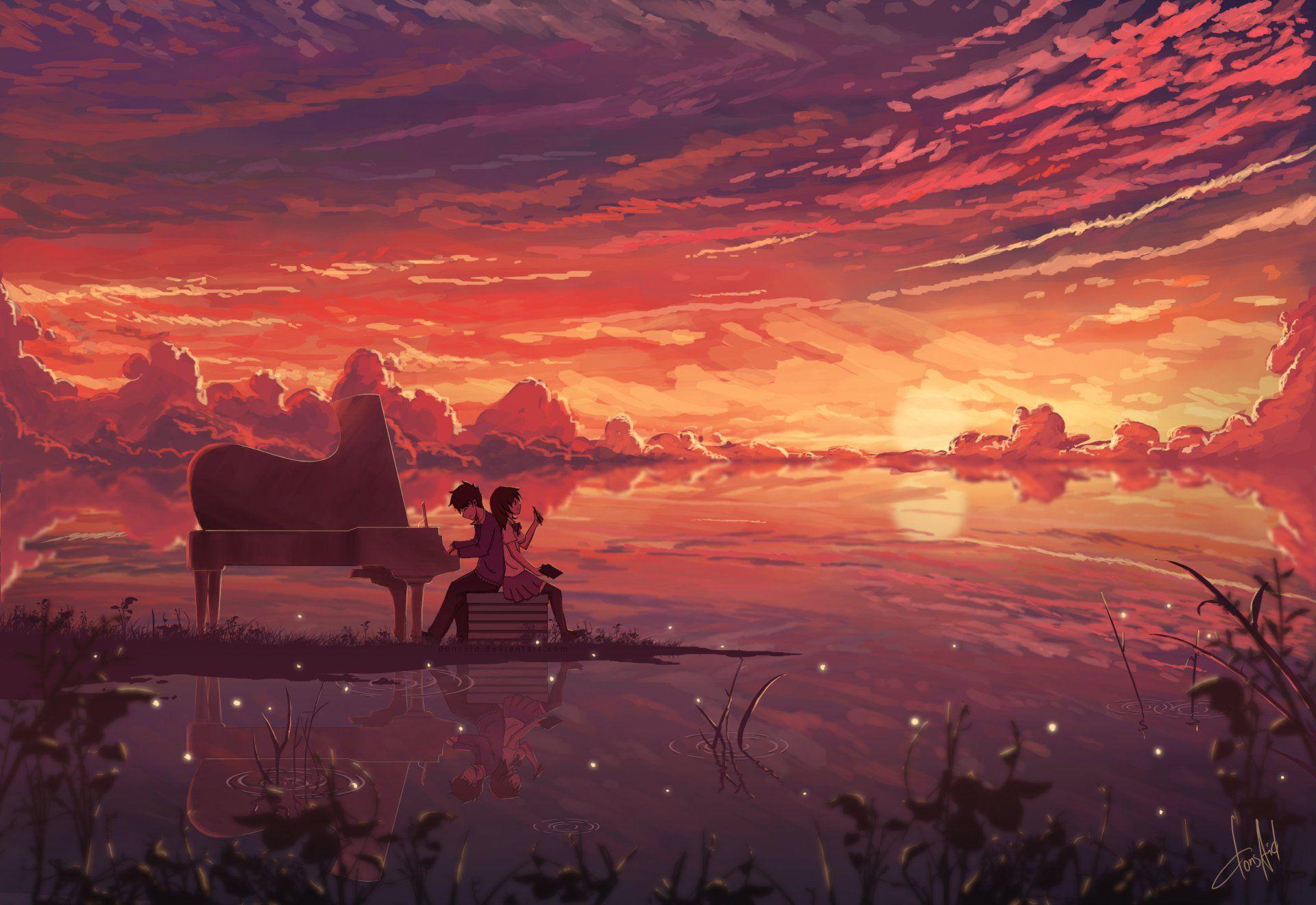 Anime Original Piano Girl Boy Sunset Sky Cloud Headphones Anime Reflection Orange Horizon Wallpaper Anime Scenery Anime Wallpaper Art Wallpaper