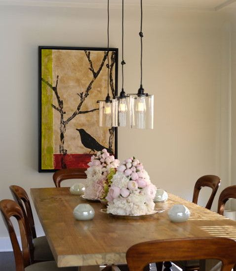 Trio Of Glass Pendant Lights Over The Dining Room Table Pendant Lighting Dining Room Dining Lighting Dining Room Light Fixtures