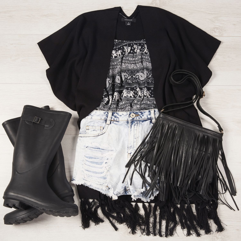 Glastonbury Festival Day 2: Elephant print, off the shoulder top, denim shorts, black fringed cape, black wellies and black PU fringed bag.