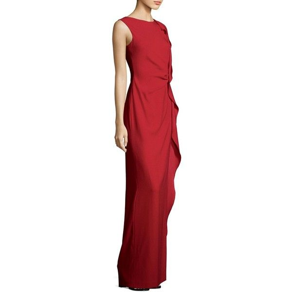 Escada Sleeveless Ruffle Gown 1 575 Liked On Polyvore Featuring Dresses Gowns Red Dress Flounce Ball Evening And