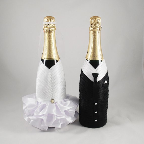 Bride Groom Bottle Set White Black Wedding Bottle Decoration