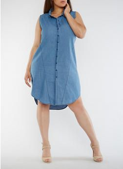 Plus Size Sleeveless Denim Shirt Dress - 0390038348756 ...