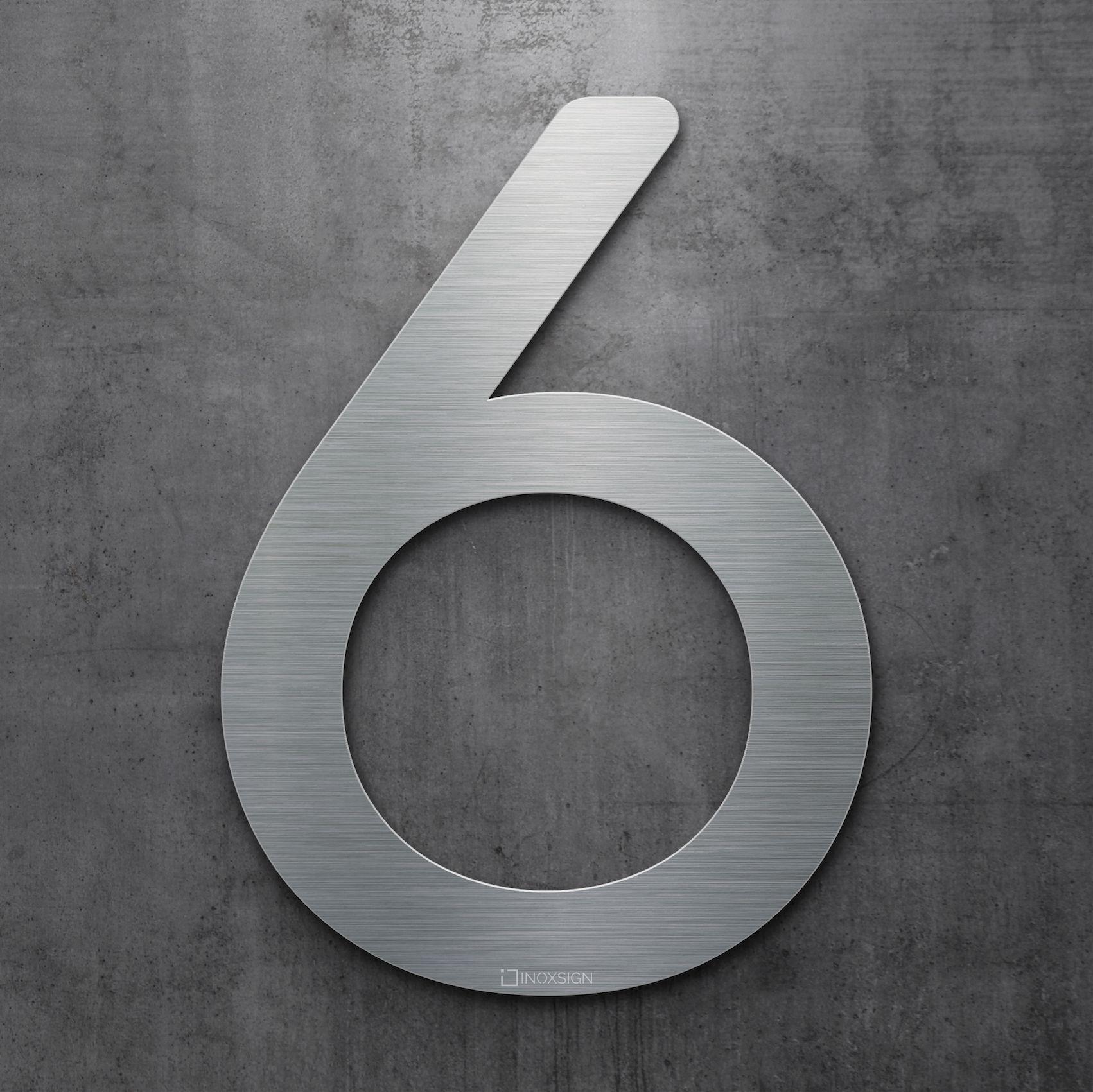 neu inoxsign edelstahl hausnummer 6 moderne hausnummern aus edelstahl geb rstet design. Black Bedroom Furniture Sets. Home Design Ideas