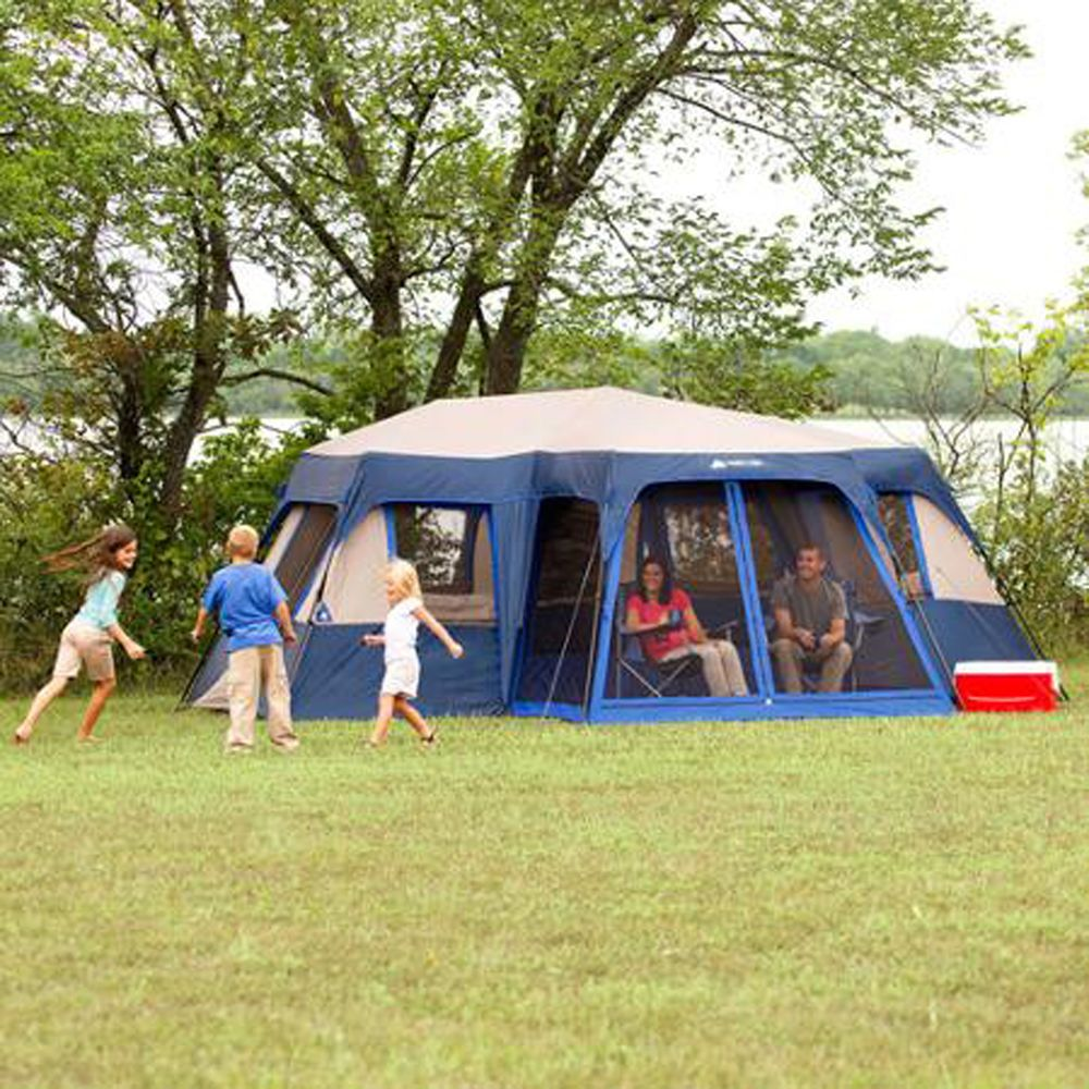 Ozark trail · Large C&ing Tent 12 Person Instant 18u0027 x 16u0027 Screen Room Family Cabin Blue & Large Camping Tent 12 Person Instant 18u0027 x 16u0027 Screen Room Family ...
