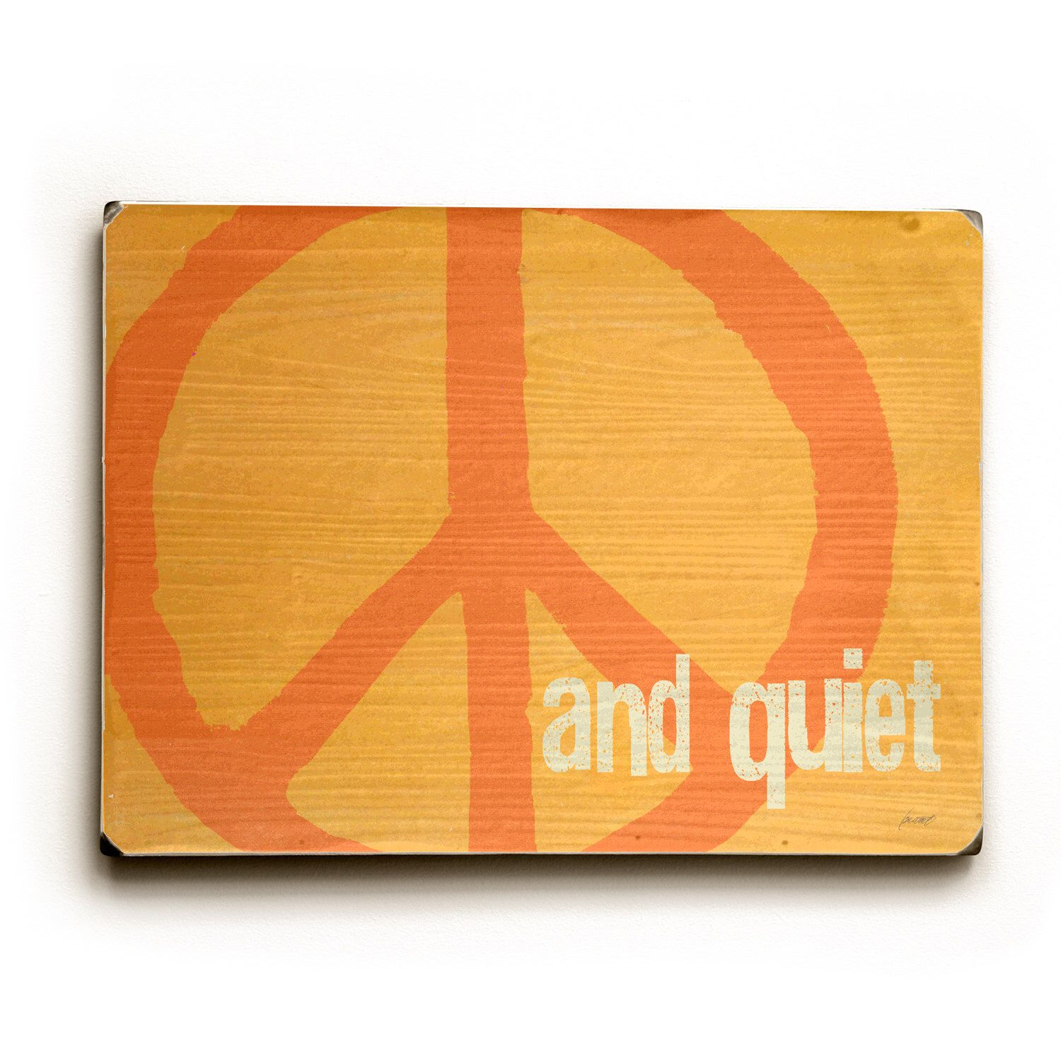 Wooden Art Sign Planked Peace and Quiet - Peace Sign - Mango wall ...