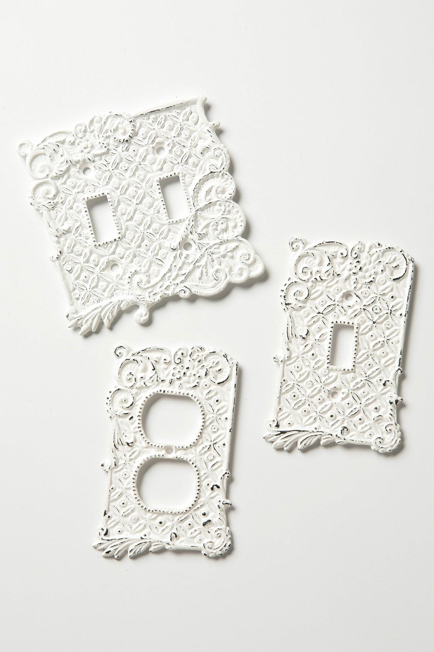 White Decorative Light Switch Covers Tin Roof Switch Plate Single  Anthropologie Iron And Light Switches
