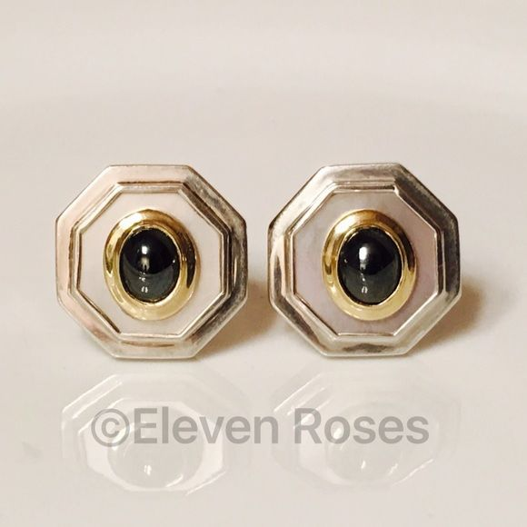 David Yurman Vintage 14k MOP Hematite Earrings Vintage David Yurman Extra Large Octagonal Shaped (8 Sided) Statement Earrings  - Two Tone 14k Gold - Mother Of Pearl Background - Hematite Center - Measures Approx 26mm Across - Combined Weight Approx 16 Grams  -  Hallmarked; D.Yurman, 14k - Rare David Yurman Vintage Statement Earrings David Yurman Jewelry Earrings