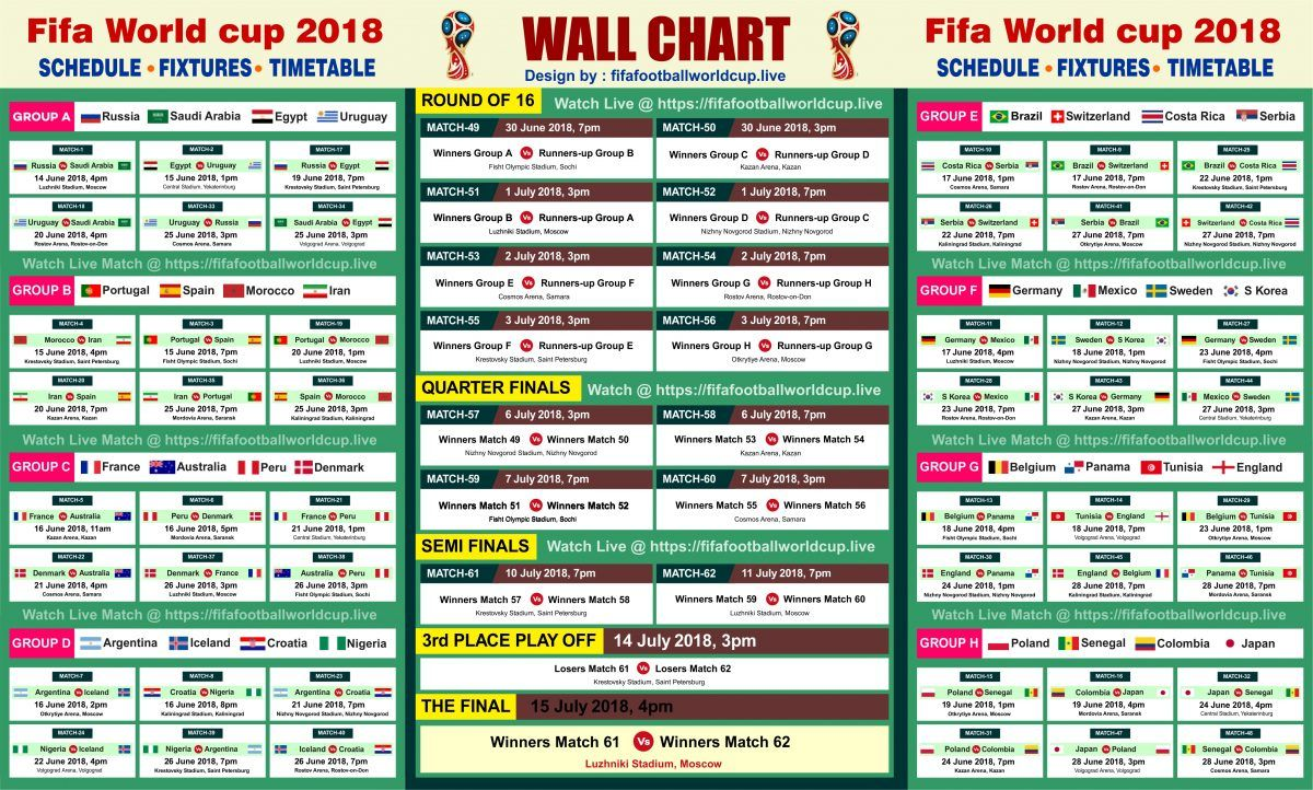 Download Fifa World Cup 2018 Wallchart Calender Keep Track Of Upcoming Matches Schedule Fixtures Fifa Jom