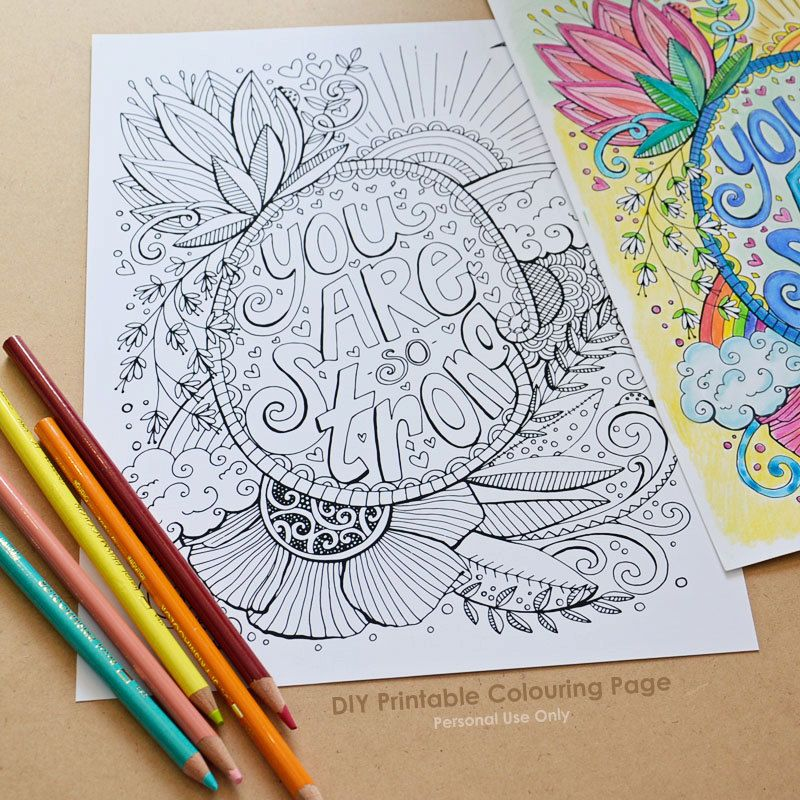 DIY Printable Coloring Page You Are So Strong Adult Colouring Sheet Intricate Drawing PDF