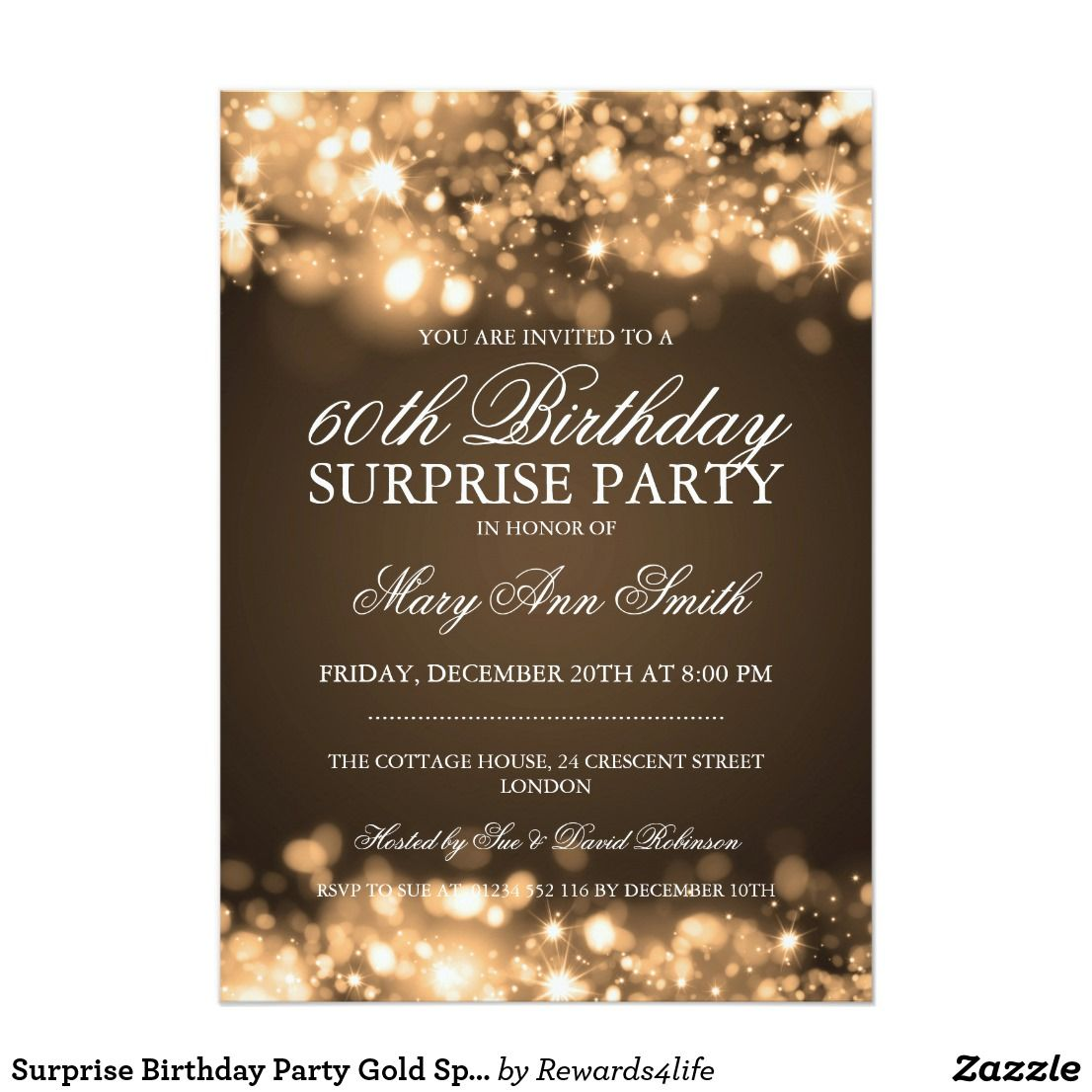 Surprise Birthday Party Gold Sparkling Lights Card | Surprise ...