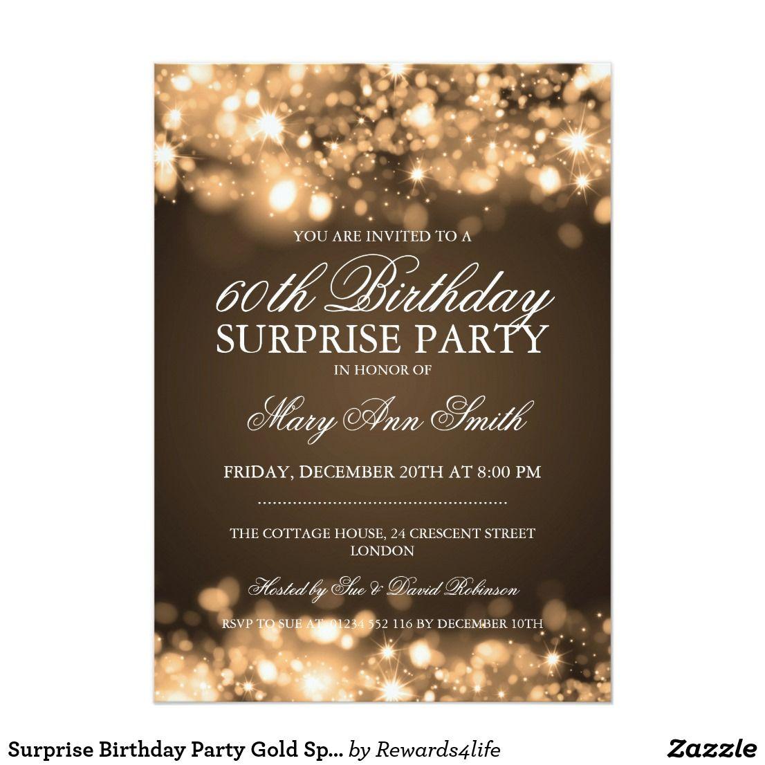 Surprise Birthday Party Gold Sparkling Lights Invitation Zazzle Com Birthday Surprise Party Surprise Birthday Party Invitations Gold Invitations