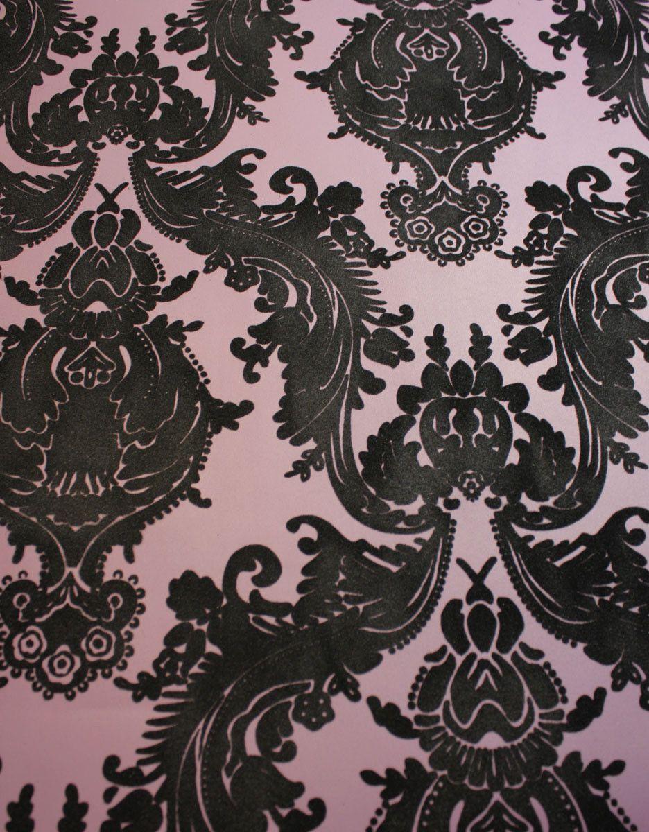 Heirloom Damask Velvet Flocked Wallpaper In Plum And Black From The Pl Velvet Wallpaper Flock Wallpaper Damask Wallpaper