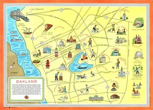 Illustrated Oakland Map An iconic map for an iconic town I have