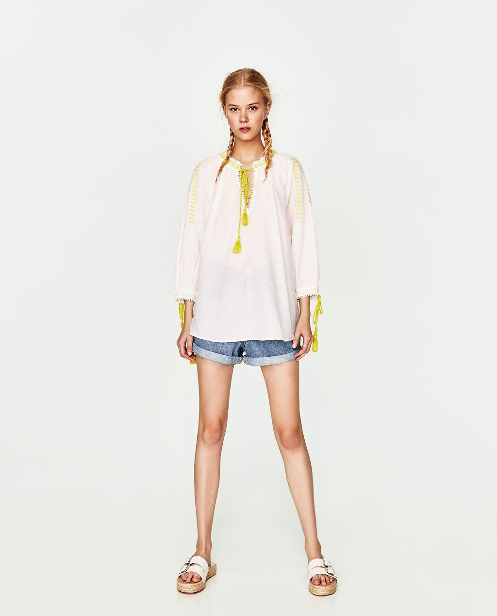 6c3d9b4d725 ZARA - FEMME - TOP STYLE TUNIQUE BRODÉ Embroidered Tunic, Zara Women, Tunic  Tops